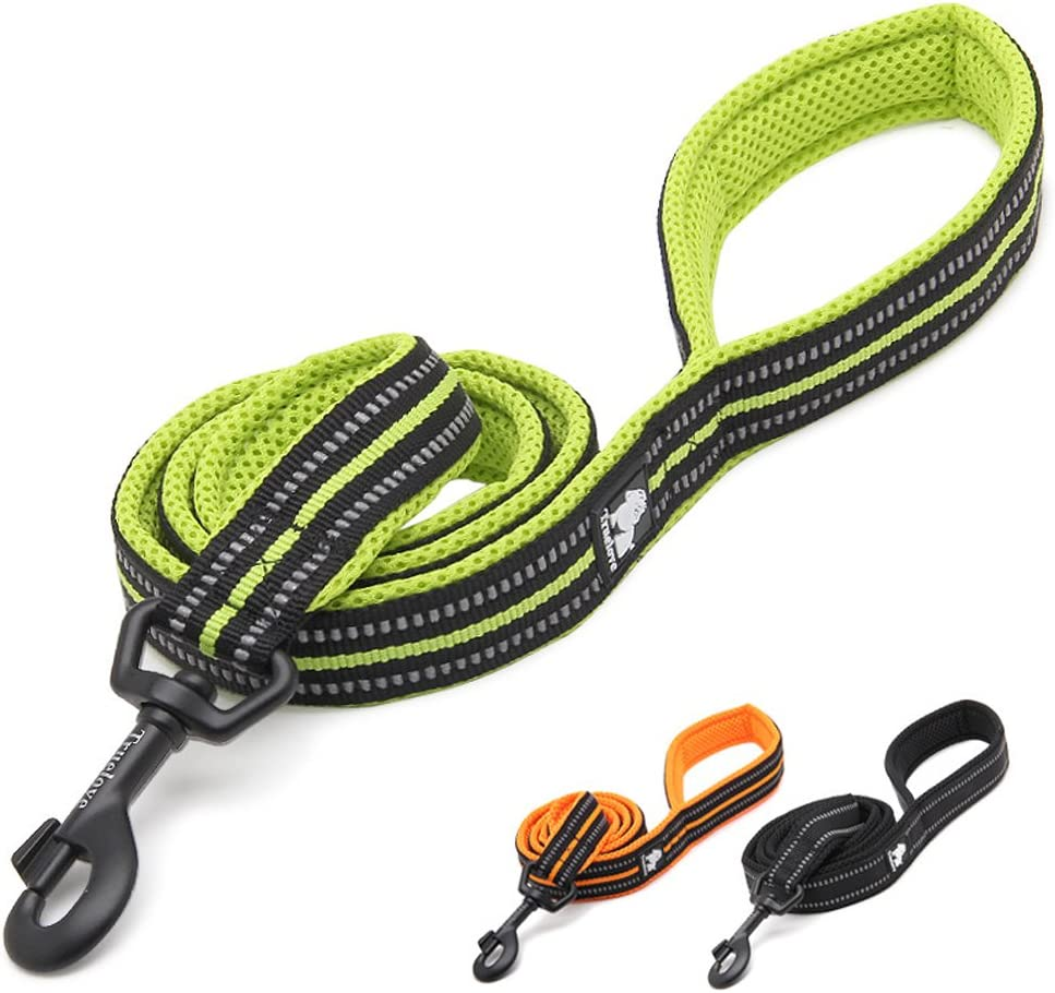 Soft Durable Comfortable Dogs Leads Rope for Small Dogs Orange Rantow 110cm Long 1.5cm Wide Breathable Padded Mesh Dog Leash With 3M Night Safety Reflective Stripes