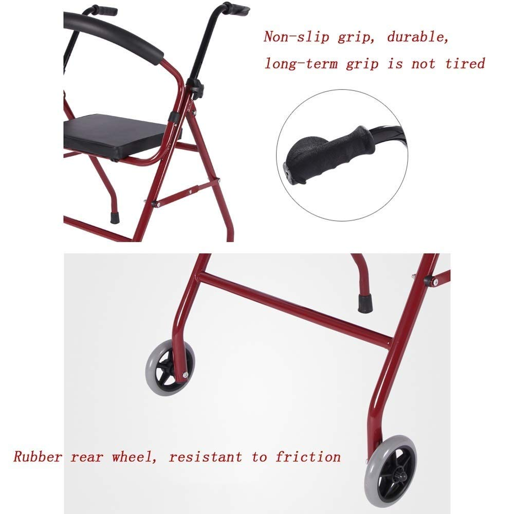 Foldable Walker,Folding Walker with Seats and Wheels Handicap Mobile Assisted Walking Frame Lightweight Non-Slip StableAdjustable Auxiliary Walking Safety Walker by YL WALKER (Image #4)