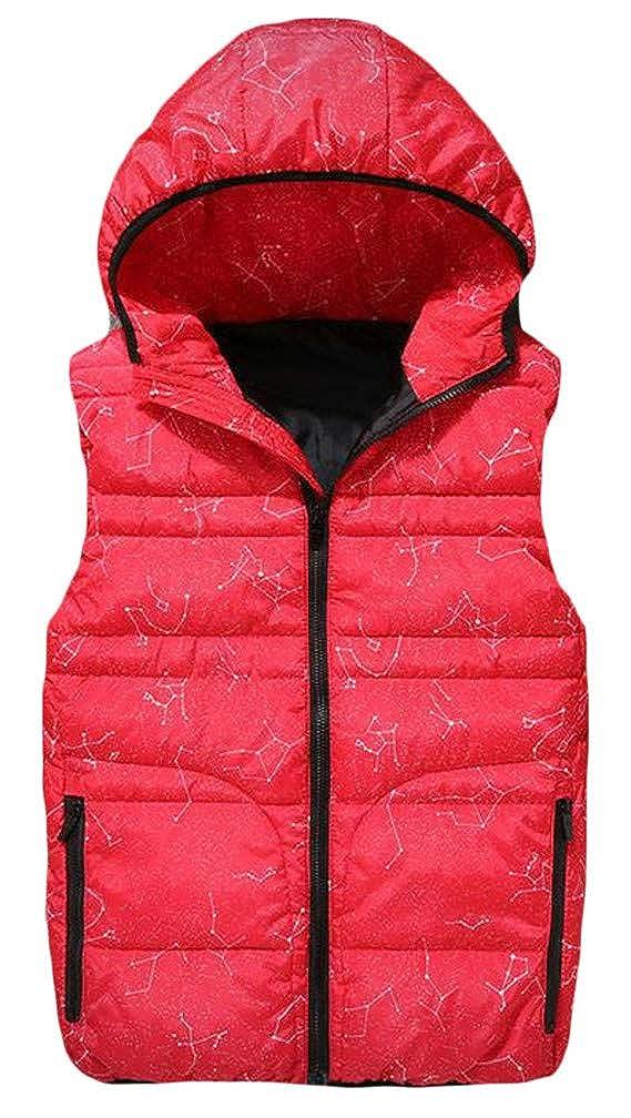 Pivaconis Mens Quilted Zip Floral Printed Hoodid Winter Pocket Jacket Down Vest