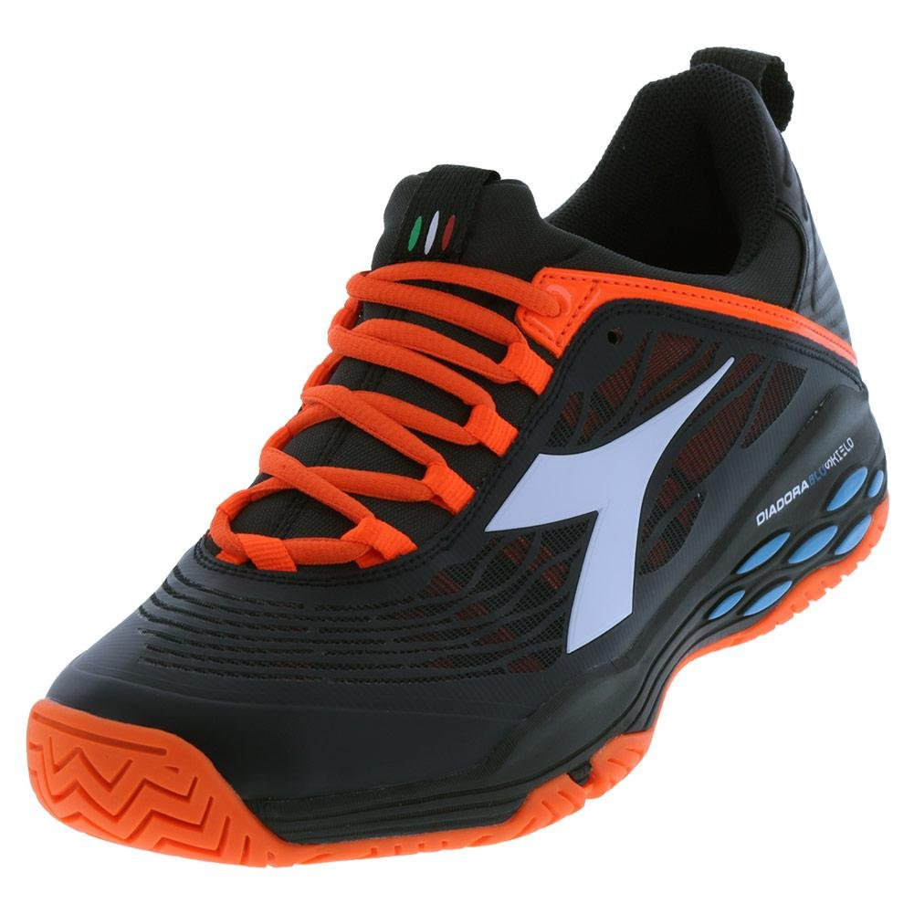 Diadora Men`s Speed Blushield Fly Ag Tennis Shoes Black and Orange Vibrant-() B079K25JYT 10.5 D(M) US|Black and Orange Vibrant