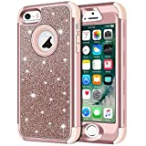 5s cute protective cases - iPhone SE Case, iPhone 5S Case, iPhone 5 Case, Anuck 3 in 1 Hybrid Shockproof Protective Case for Girls Cute Bling Sparkly Glitter Heavy Duty Armor Defender Cover for Apple iPhone 5/5S/SE - Rose Gold