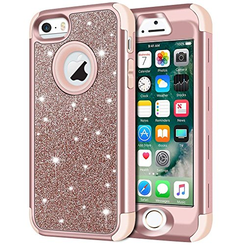 iPhone SE Case, iPhone 5S Case, iPhone 5 Case, Anuck 3 in 1 Hybrid Shockproof Protective Case for Girls Cute Bling Sparkly Glitter Heavy Duty Armor Defender Cover for Apple iPhone 5/5S/SE - Rose Gold