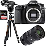 Canon EOS 80D 24.2 MP CMOS Digital SLR Camera Bundle w/ Sigma 18-35mm f/1.8 DC HSM ART Lens + Tascam X-Y Plug-in Microphone + Sandisk 128GB Extreme SDXC Card + Vanguard Tripod