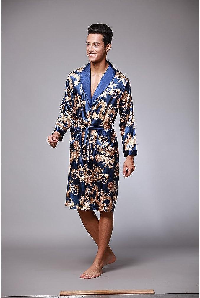 Hawiton Albornoz de Hombre Albornoz de Invierno para Hombre Kimono Hombre Sat/én Albornoz Largo de Hombre con Cinturon y 2 Bolsilla Negro Azul Gris S-XXL