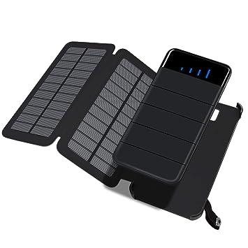 ADDTOP Cargador Solar 10000 mAh, Desmontable Plegable 2 Paneles solares Solar batería Externa portátil Power Bank con Dual USB para iPhone, iPad, ...