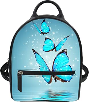 Leather Backpack Cartoon Animal Butterfly Womens PU Bookbag School Purse Shoulder Bag