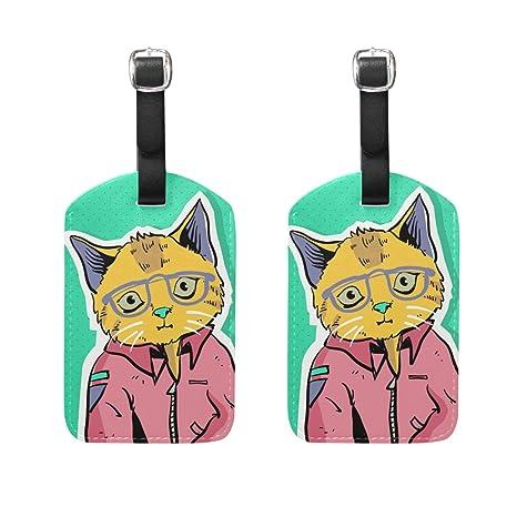 amazon com jojogood cat pop art luggage tags bag travel labels for