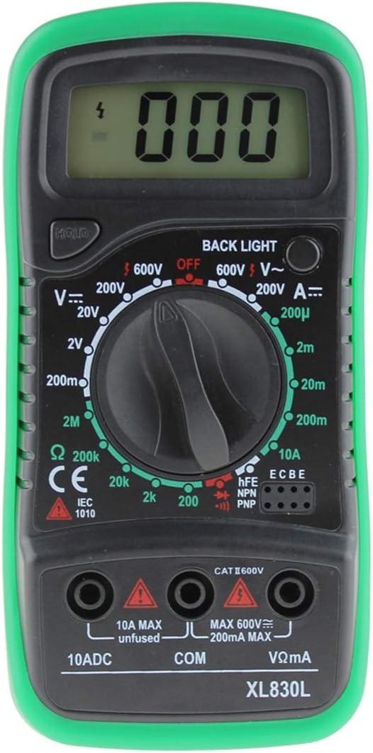 Topsale-ycld XL830L Multimetro Retroilluminazione Multimetro Digitale LCD Voltmetro Amperometro AC DC Ohm Volt Tester Corrente di Prova Color : Green