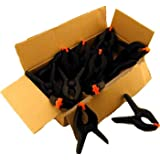 Clay Roberts Spring Clamps, Pack of 8, Black Nylon Grip Clips, Textured Handles