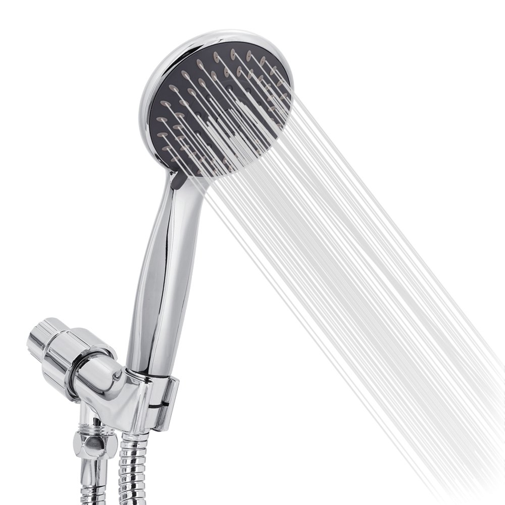 Handheld Shower Head High Pressure 5 Spray Settings Massage Spa Detachable Hand Held Showerhead 4.1'' Chrome Face with Hose and Adjustable Bracket