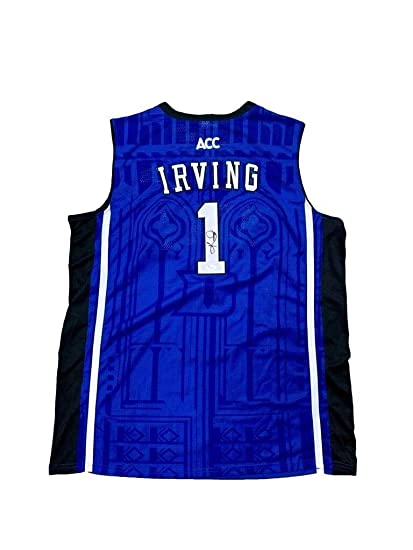 b2b1f35b53c Image Unavailable. Image not available for. Color  Kyrie Irving Autographed  Signed Duke Blue Devils Away Blue Jersey Memorabilia JSA