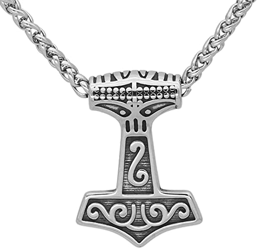 silver Thor/'s Hammer pendant stainless steel chain necklace SOLID set