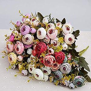 GSD2FF 10heads/1 Bundle Silk Tea Roses Bride Bouquet for Christmas Home Wedding Decoration Fake Plants Artificial Flowers 31