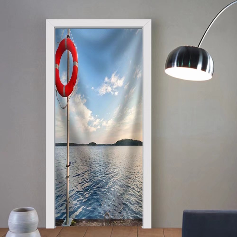 Niasjnfu Chen custom made 3d door stickers Safety Equipment Bright Red Safe Lifebuoy on the Pier Fabric Home Decor For Room Decor 30x79