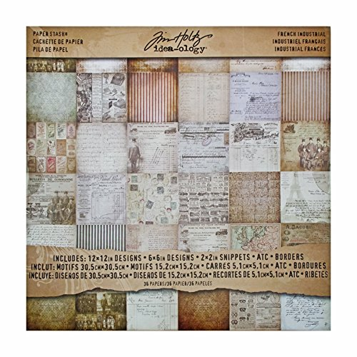 French Industrial Paper Stash by Tim Holtz Idea-ology, 36 Sheets, Double-Sided Cardstock, Various Sizes, Multicolored, -