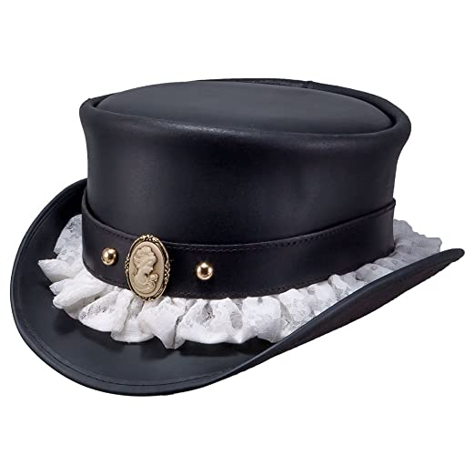 Image Unavailable. Image not available for. Color  American Hat Makers  Marlow-Portrait Band by Steampunk Hatter Leather Top ... 08da4fe5486b