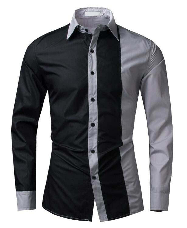 Men Shirt Black/&White Dress Shirt Long Sleeve Slim Fit Casual Male Hawaiian Shirts