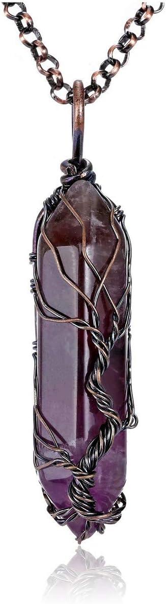 JSDDE - Collar con colgante de cristal con forma de árbol de la vida, con piedras preciosas de amatista