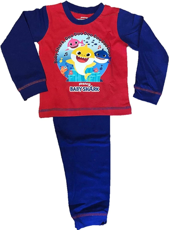 Armona Trading LTD Boys Kids Baby Sleeve Character Shark Pajamas Pyjamas Long