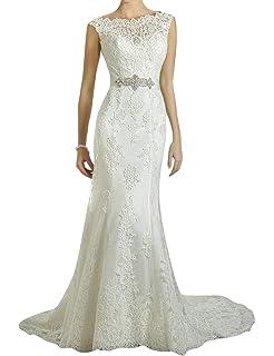 faf4cd49ca1 VKStar® Robe de Soirée Mariage Sirène Longue sans Manche Robe de Mariée  Cérémonie Femme Dos