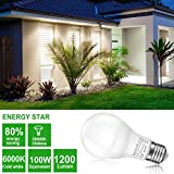 13.5W LED Sensor Lights Bulb Dusk to Dawn A20, 100W Equivelent Light Bulbs with Photocell, Auto Indoor/Outdoor Lighting Lamp for Porch, Hallway, Patio, Garage (E26/E27, 1200lumen, 6000K) 2Pack