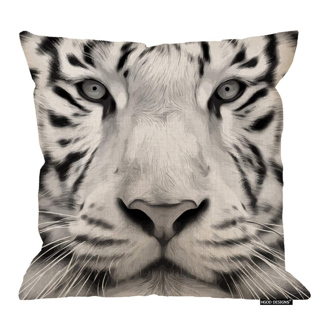 HGOD DESIGNS Tiger Throw Pillow,Animal Gray Scale Closeup Portrait of A White Bengal Tiger Decorative Cushion Cover Cotton Linen Square Throw Pillow ...