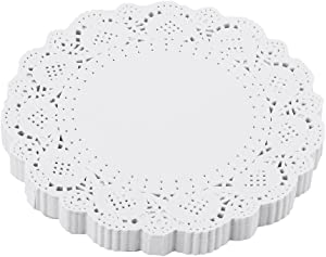 DECORA 5.5 inch White Round Paper Lace Doilies for Wedding Tableware Decoration 200pcs