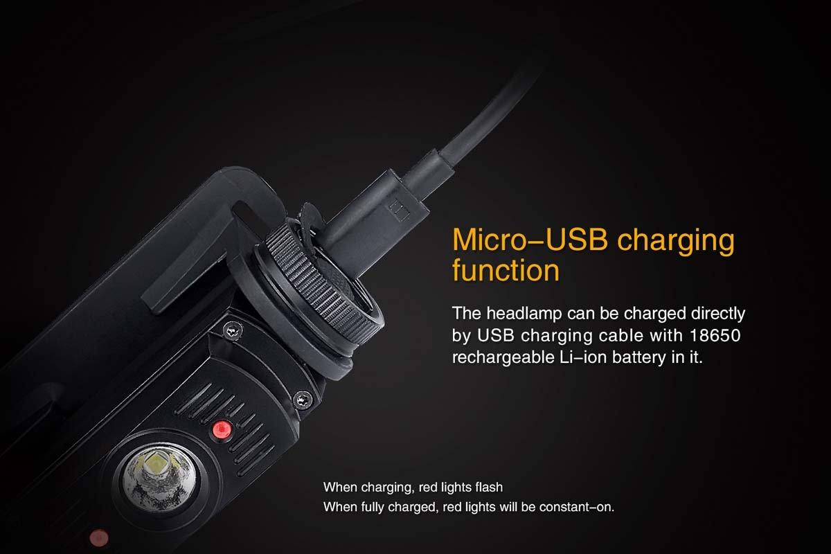 Desert Yellow recargable con USB bater/ía de 950/l/úmenes Linterna Fenix HL60R con luces LED para cabeza