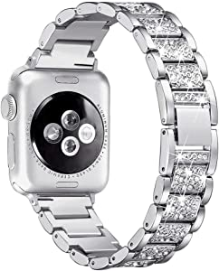 Aottom Compatible for Apple Watch Band 40mm for Women iWatch Series SE/6/5/4/3/2/1 Band Metal Jewelry Bling Glitter Wristband Bracelet Replacement Band for 38mm 40mm Apple Watch SE Series 6/5/4/3/2/1
