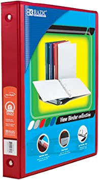 Case of 12 BAZIC 1.5 Red 3-Ring View Binder w//2-Pockets 4143-12