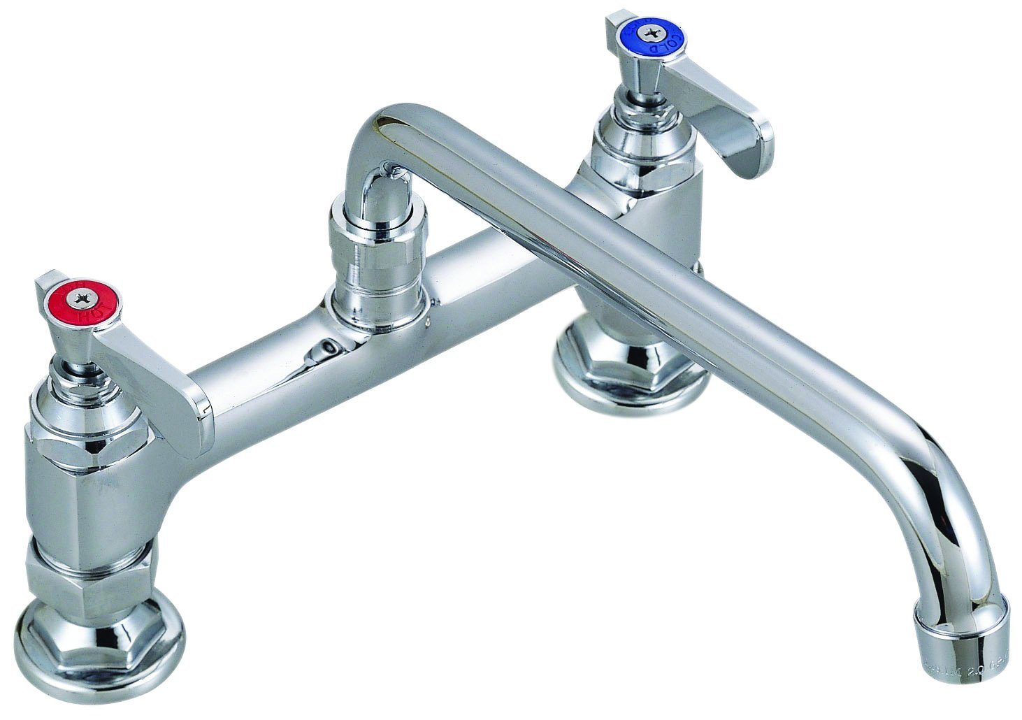 BK Resources BKF8HD-8-G OptiFlow Heavy Duty 8'' On Center Deck Mount Faucet with 8'' Swing Spout