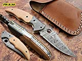 Cheap FN-A-98, Handmade Damascus Steel Folding Knife – Solid G-10 Handle with Damascus Steel Bolsters