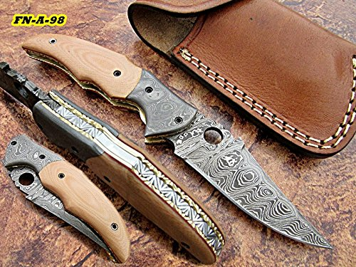 FN-A-98, Handmade Damascus Steel Folding Knife – Solid G-10 Handle with Damascus Steel Bolsters