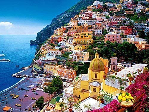 (Prime Leader Positano, Amalfi Coast, Italy - Oil Painting On Canvas Modern Wall Art Pictures for Home Decoration (12 x 16 inch,Frameless))