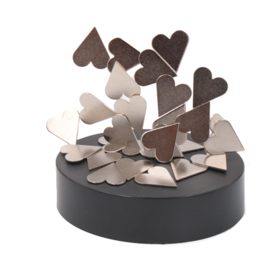 AblueA Magnetic Sculpture Desk Toy Coffee Table Piece As Office Gift Stocking Stuffer (Oval Base - Hearts)