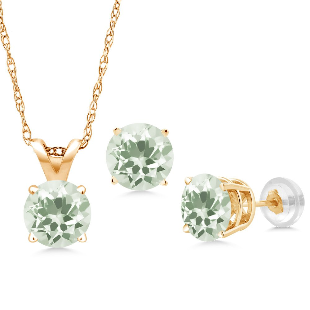 2.85 Ct Round Green Amethyst 14K Yellow Gold Pendant Earrings Set With Chain