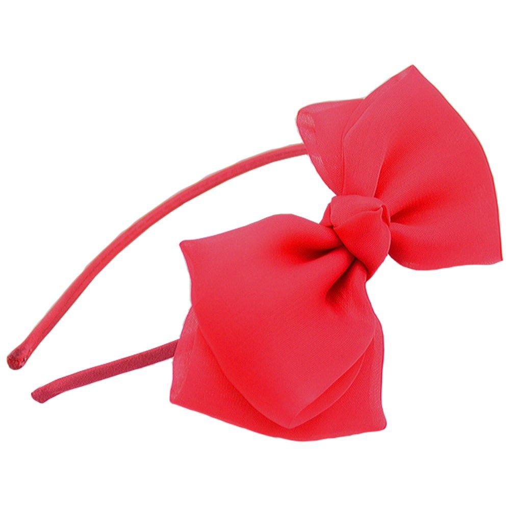 Bow Headband Lace Bowknot Headband Big Bow Ribbon Hair Hoop Girls Kids Party Decoration Headdress Cosplay Costume Headwear Halloween Makeup Handmade Headpiece Hair Band Elastic Hair Accessories Red GenMo