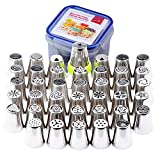YOUKEE Russian Piping Tips,41 PCS/Set, Most Complete Latest 304 Stainless Steel Russian Tulip Icing Piping Nozzles Cake Pastry Decoration Tips Tool