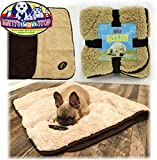 Cheap Matty's Pet Stop Reversible Plush & Faux Suede Cozy Pet Blanket (43.3″ x 29.5″) – Beige & Brown