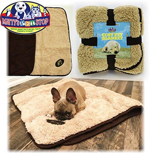 Cheap Matty's Pet Stop Reversible Plush & Faux Suede Cozy Pet Blanket (43.3″ x 29.5″) – Beige & Brown