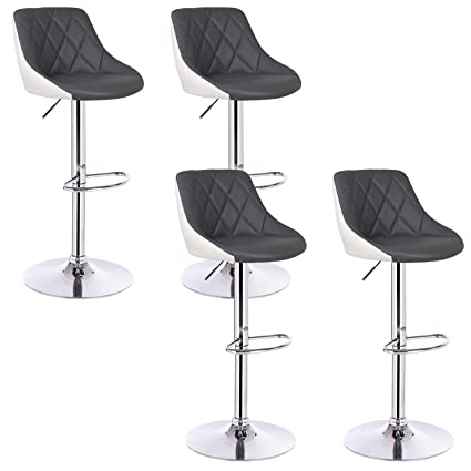 Woltu Bar Stools Grey White Bar Chairs Breakfast Dining Stools For Kitchen Island Counter Bar Stools Set Of 4 Pcs Leatherette Exterior Adjustable