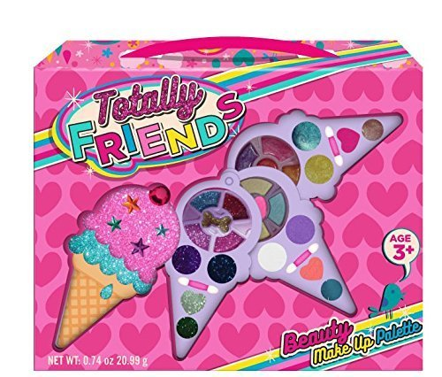 Totally Friends Kids Pretend Play Makeup Kit - Designer Girls Makeup Palette for Kids - Packed In a Cute Ice Cream Shaped Vanity - Non-Toxic and Washable.