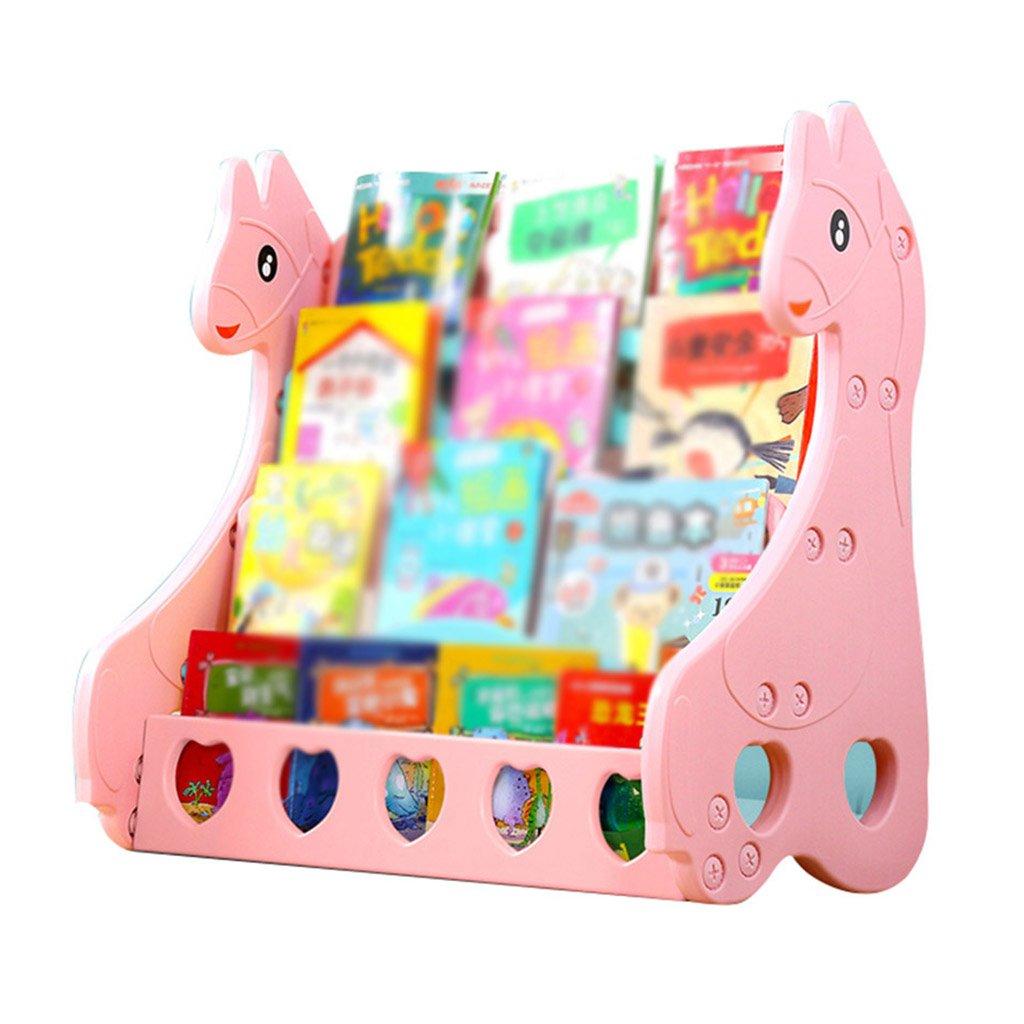 Xi Man Shop Estantería para Libros de Dibujos Animados para niños Estantería para niños Suelo Biblioteca de pie para Libros de Pared Escuela de párvulos (Color : Pink)
