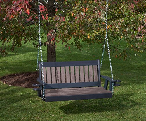 5FT-WEATHERED WOOD-POLY LUMBER Mission Porch Swing with Cupholder arms Heavy Duty EVERLASTING PolyTuf HDPE – MADE IN USA – AMISH CRAFTED