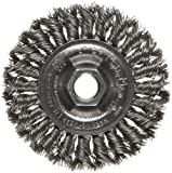 Weiler Dualife Standard Wire Wheel Brush, Threaded Hole, Steel, Partial Twist Knotted, 4'' Diameter, 0.020'' Wire Diameter, 5/8-11'' Arbor, 7/8'' Bristle Length, 1/2'' Brush Face Width, 20000 rpm
