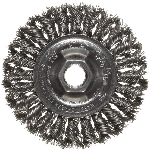 Weiler Dualife Standard Wire Wheel Brush, Threaded Hole, Steel, Partial Twist Knotted, 4
