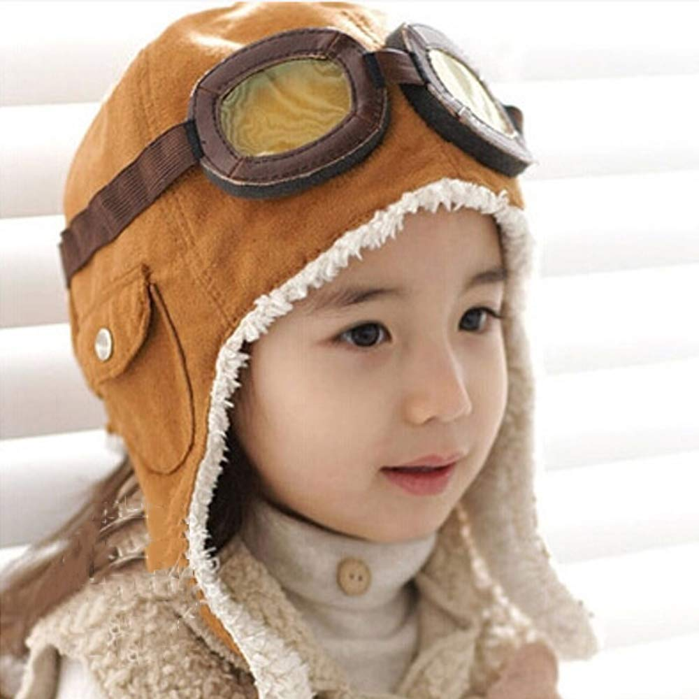 Amazon.com  Baby Children Winter Ear Flap Pilot Cap Aviator Hat Aviator  Costume Air Force Helmet Aviator Hat with Goggles for Kids (Black)  Clothing acd190339dfb