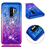 for Samsung Galaxy S9 Plus Case Glitter Liquid and Screen Protector,QFFUN Bling Sparkle Quicksand Gradient Colors Design Shiny Diamond Clear Slim Fit Protective Phone Case Bumper - Blue and Purple