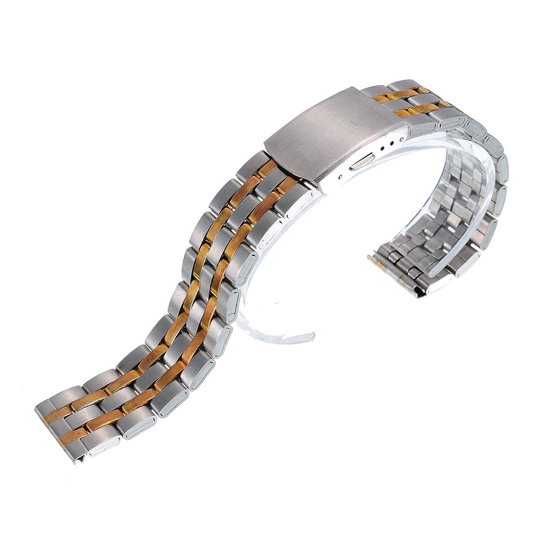 腕時計用バンド ステンレス ストラップ 交換 腕時計 時計ベルト 折り畳み式バックル ブレンドカラー 20mm  B01J3BQ0LY