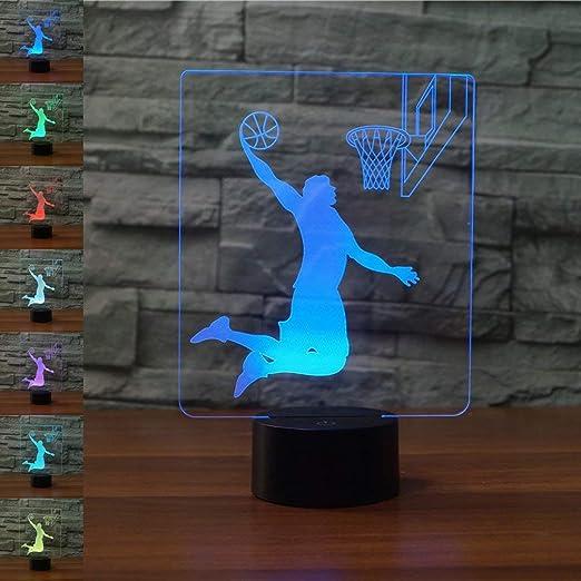 3D LED lámparas de Baloncesto ilusion optica luz de noche 7 ...
